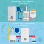 Gas boiler and central heating installations, flat heating concept, banner,.. Stock Illustration