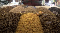 4K Dried fruits on a market stall in Morocco Stock Footage