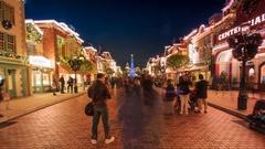 Time Lapse Many People Enjoyment Around Christmas Tree Of Hong Kong Disneyland Stock Footage