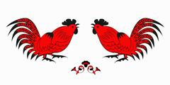 Fighting of red roosters on a white background Stock Illustration