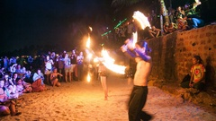 GOA, INDIA - SEPTEMBER 12, 2013: Fire show festival in andjuna beach Stock Footage