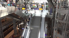 4K Aerial view busy escalator in train station platform moving staircase people Stock Footage