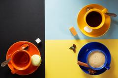 Cup of coffee, tea and cacao Stock Photos