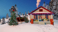 House of Santa Claus decorated for Christmas 4K Stock Footage