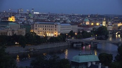 4K Pan right amazing Prague skyline at twilight tourism attraction panorama icon Stock Footage