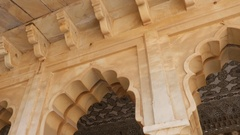 Architectural detail in Amber Fort, Jaipur, Rajasthan, India Stock Footage