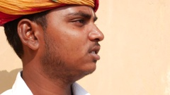 Musician playing traditional rajasthani music on the street Stock Footage