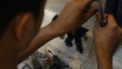 Making carpet in Jaipur, India Stock Footage