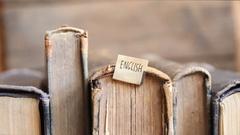 Learning english idea, tag and retro books Stock Footage