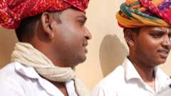 Musicians playing traditional rajasthani music on the street Stock Footage