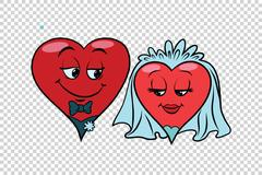 Wedding groom and bride, Valentine heart Stock Illustration