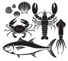 Seafood silhouette set. Lobster prawn, crab, tuna fish, shellfish and squid. Stock Illustration