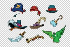 Pirate set of knives and hats Stock Illustration