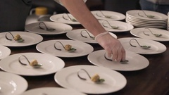 Snack before main courses. Snack at celebrations. Beautiful snack on dishes Stock Footage