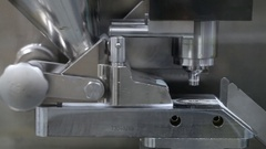 Pill press machine at the pharmaceutical factory Stock Footage