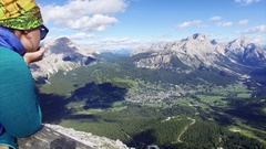 Scenic view of Cortina d'Ampezzo surrounded by majestic mountains. Stock Footage