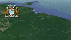 Barima-Waini with Coat Of Arms Animation Map Stock Footage