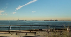 Battery Park with Statue Of Liberty, New York City NYC 4K Timelapse Stock Footage