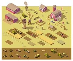 Vector isometric low poly farm elements Stock Illustration