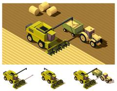 Vector isometric low poly combine harvester mowing Stock Illustration