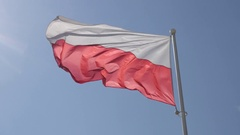 Red and white horizontal stripes of Polish flag waving on wind 4K 2160p 30fps Stock Footage