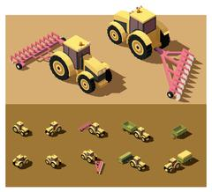Vector isometric low poly tractor Stock Illustration