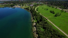 Aerial beautiful lake park summer Stock Footage