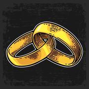 Golden wedding rings. Vintage color vector engraving illustration Stock Illustration