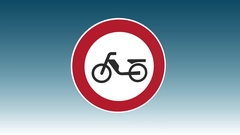 Traffic Sign, Mopeds Prohibited Stock Footage