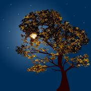 Autumn tree on a background lunar night Stock Illustration