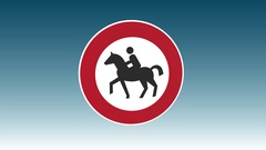 Traffic Sign, Horses Prohibited Stock Footage