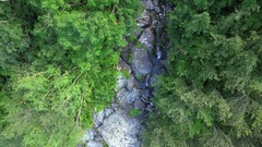 Mountain waterfall from above Stock Footage