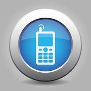 Blue metallic button, old mobile with antenna icon Stock Illustration