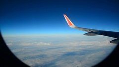 Wing aircraft against sky during the flight Stock Footage