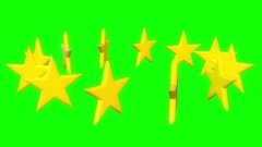 Golden stars rotate on white Stock Footage