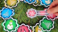 Winter illustration on fir-tree branch Stock Footage