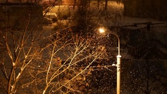4K footage, snow is falling over light post and tree at winter night Stock Footage