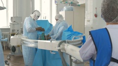 Surgical operation. Doctor drills patients foot with screwdriver. Real surgery Stock Footage