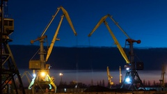 Cranes at the port of ship coal Stock Footage