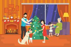 Family with children celebrating christmas holiday concept Stock Illustration