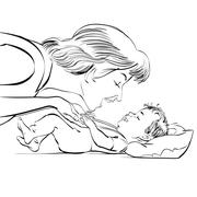 Mother and newborn baby love Stock Illustration