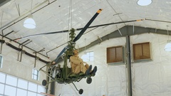 Buffalo, NY, USA: Model helicopter with an old mannequin Stock Footage