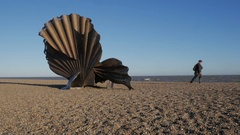 The Scallop sculpture, dedicated to Benjamin Britten on the beach at Aldeburgh Stock Footage