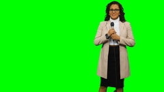 Female Reporter on Chroma Key Background 4k Stock Footage