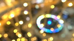 Blurred holiday Christmas LED lights at the mall. 4K background bokeh video Stock Footage