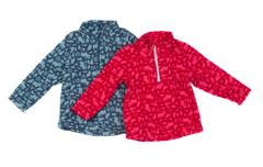 Gray and red fleece jacket Stock Photos