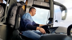 Intercity bus driver at work Stock Footage