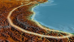 Glide over Pontic mountain range - glowed. Relief map Stock Footage