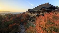 4K Day to Night timelapse of Kiyomizu dera temple in autumn season, Kyoto, Japan Stock Footage