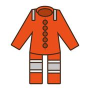 Cartoon orange suit overall uniform worker protective design Stock Illustration